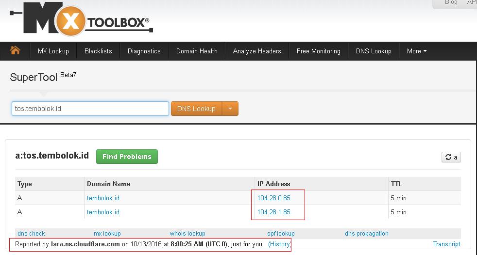 melihat DNS record dengan MX toolbox
