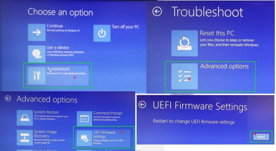 cara masuk lanjutan uefi bios windows 10