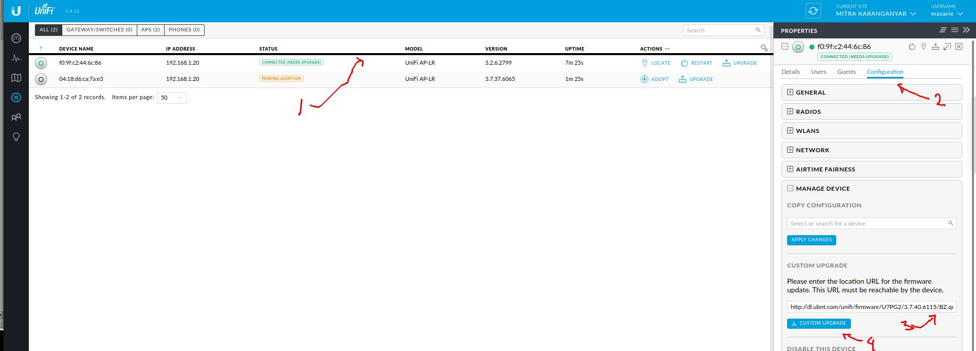 cara menggunakan custom upgrade untuk mengupgrade firmware Unifi pada unifi controller