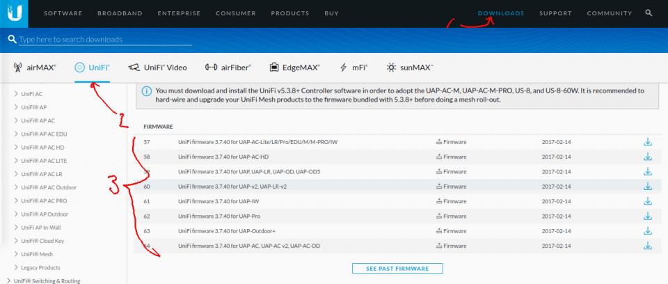 download unifi firmware yang sesuai dengan tipe model perangkat