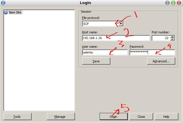 login ke perangkat uniFi dengan SCP Client