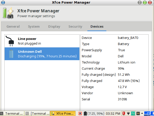 antergos xfce power manager