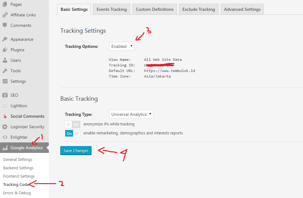 cara memasang tracking code google analytic pada wordpress