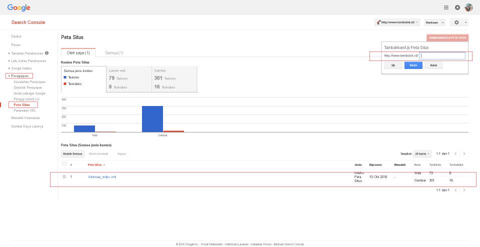 cara menambahkan sitemap peta situs pada google webmaster tool