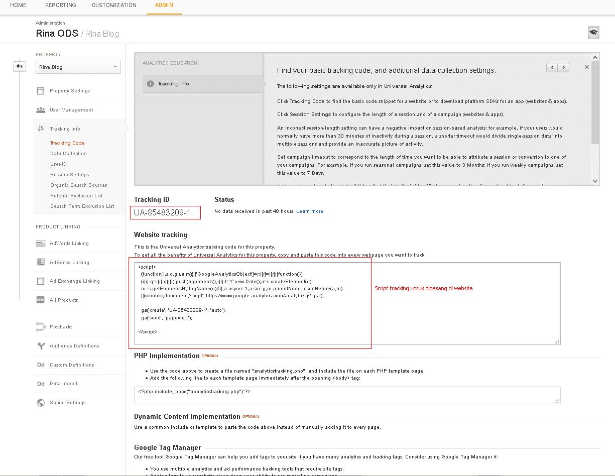 google analytics tracking id dan tracking script