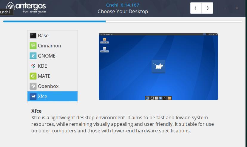 memilih desktop environment antergos installer