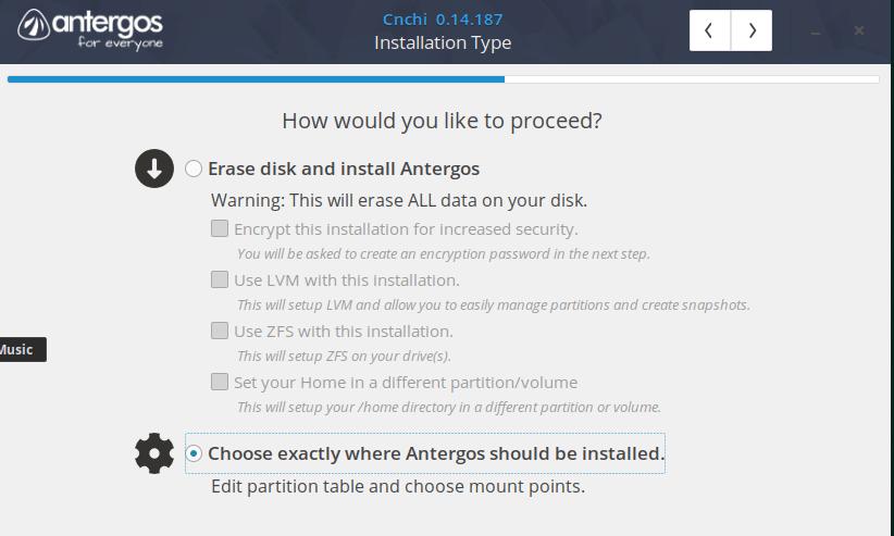 memilih tipe installasi pada antergos installer