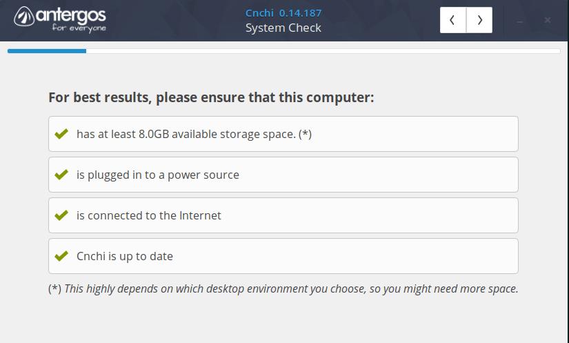 system check antergos installer