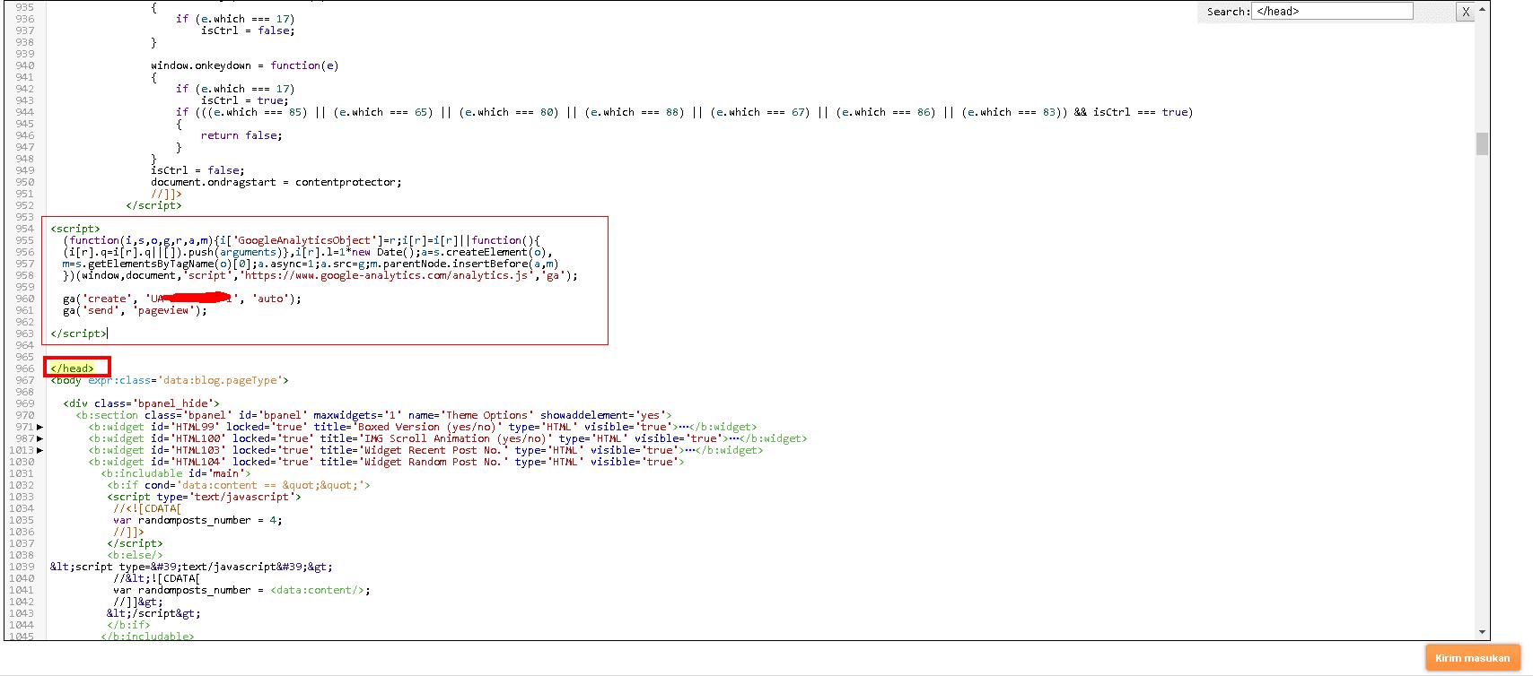 cara memasang google analytic script tracker pada blogger