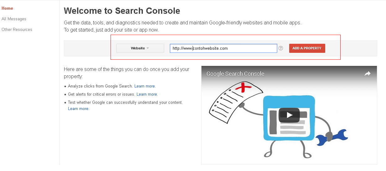 cara menambahkan website pada google webmaster tool