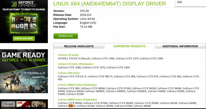 mencari informasi dukungan nvidia driver