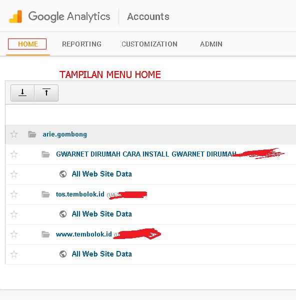 dashboard daftar website yang dikelola di google analytics