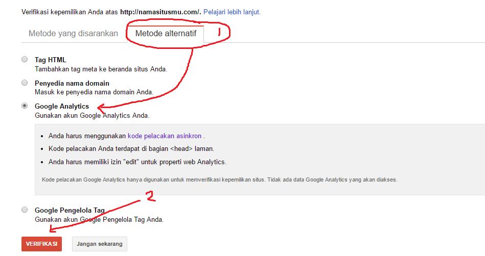 verifikasi google webmaster tool dengan google analitycs