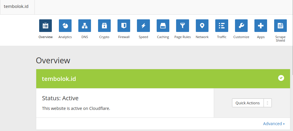 Control panel CDN cloudflare setelah pasang cloudflare di wordpress
