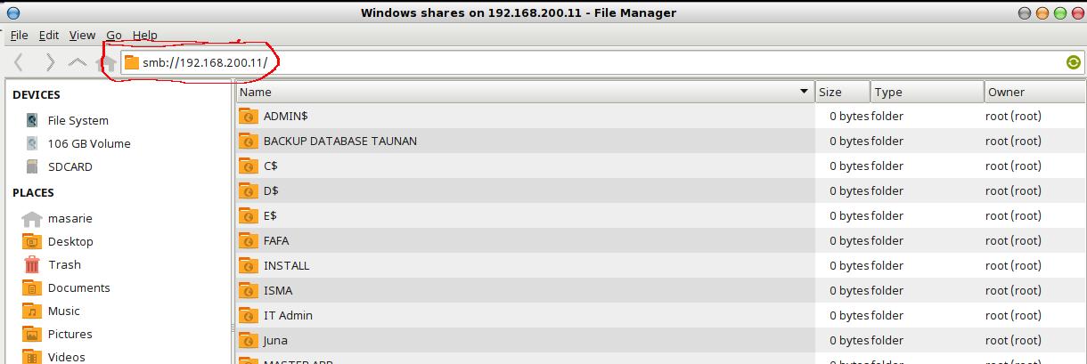 cara membuka windows file sharing dari linux