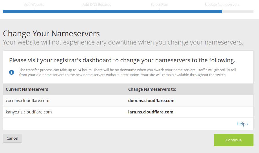 DNS server cloudflare yang harus digunakan pada domain