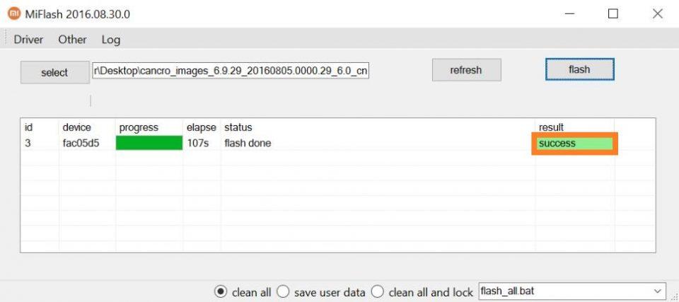 flashing dengan mode flashboot sukses menggunakan miflash tool