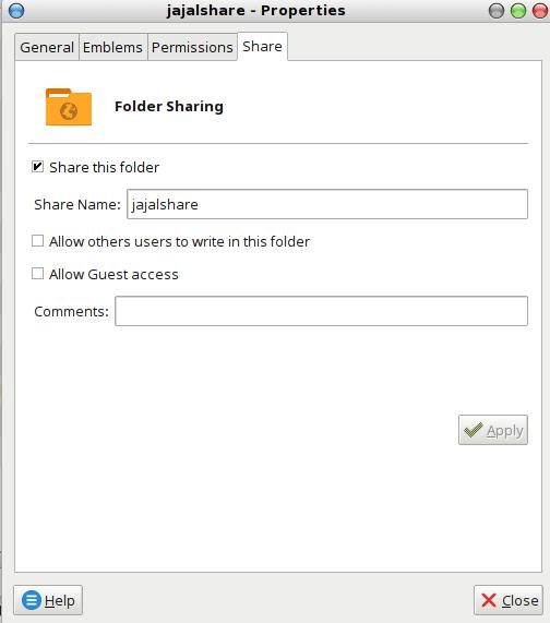 opsi samba file sharing pada file manager setelah mengaktifkan usershare option