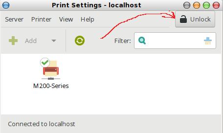 unlock GUI CUPS untuk memulai mengelola printer pada linux