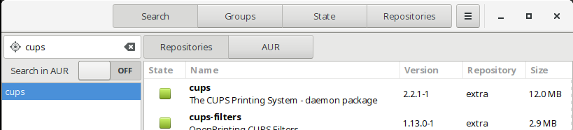 cara menginstall cups dengan GUI package manager