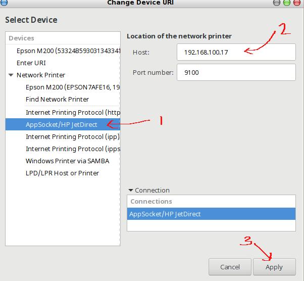 memilih protocol printer dan menambahkan IP printer secara manual dengan GUI CUPS pada linux