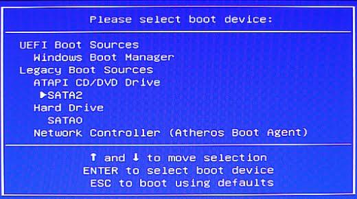tampilan boot menu pada BIOS