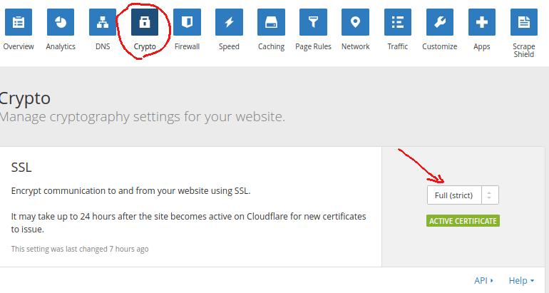 mengaktifkan Full SSL strict pada cloudflare untuk website wordpress