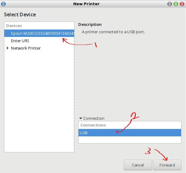 memilih printer local yang akan dikelola /setting dengan GUI CUPS pada linux