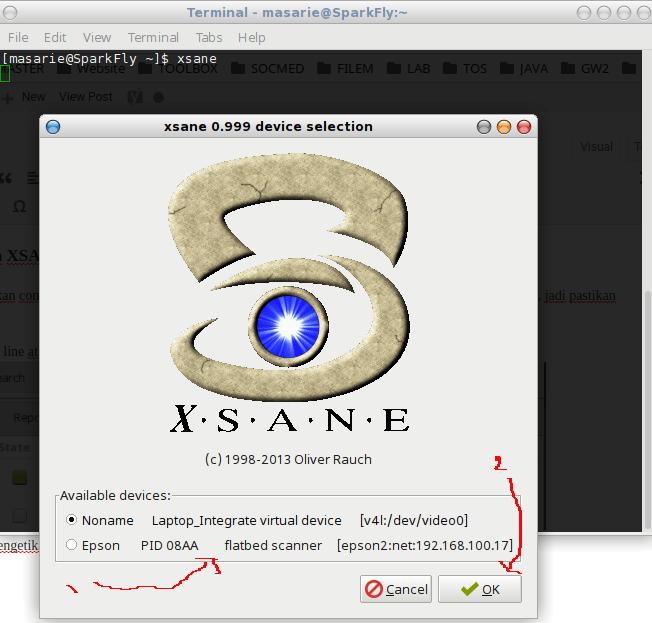 memilih scanner yang akan digunakan pada aplikasi XSANE