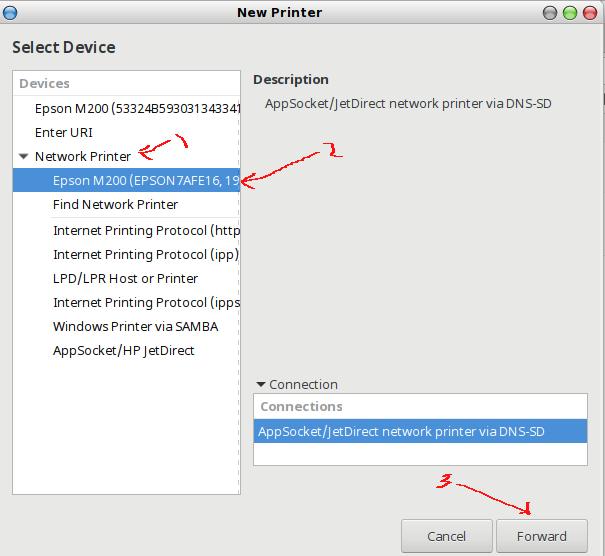memilih network printer yang akan dikelola dengan GUI CUPS