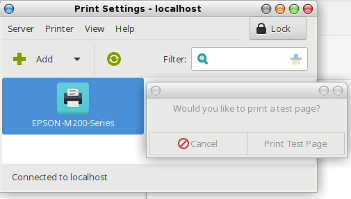 berhasil menginstall dan mengelola /setting printer dengan GUI CUPS pada linux