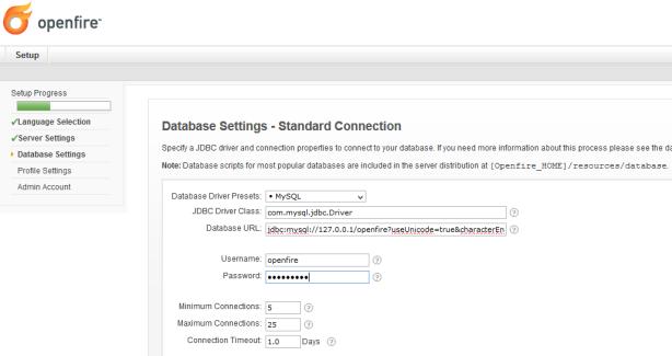 setting database yang akan digunakan openfire