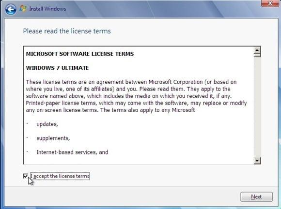 lembar persetujuan installasi windows