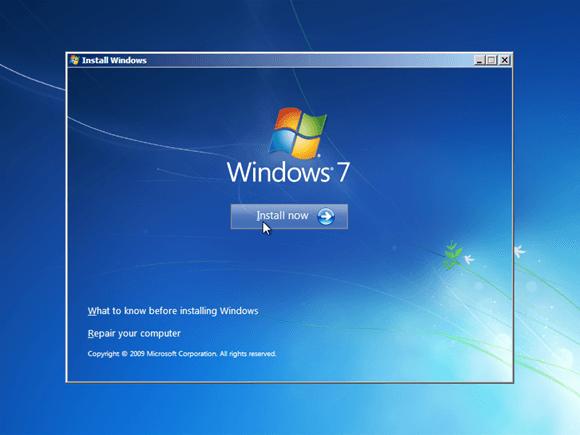 pilih install now untuk memulai installasi windows
