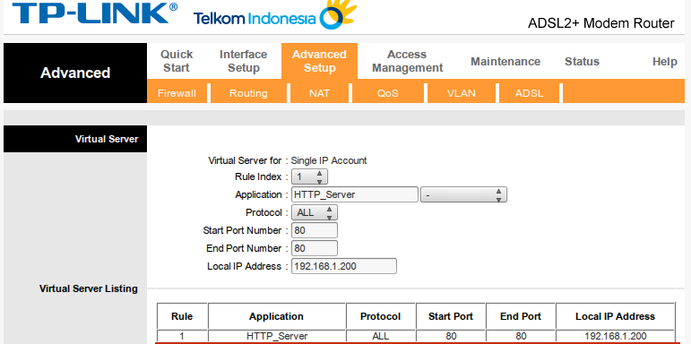 cara setting port forwarding pada modem ADSL speedy