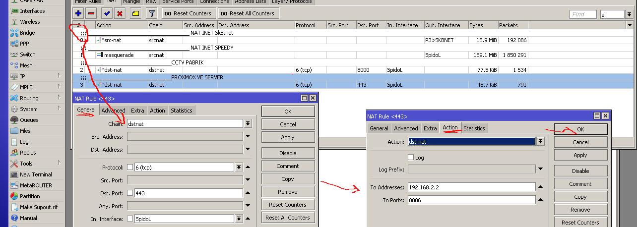 cara setting port forwarding pada mikrotik untk mengakses server lokal dari internet