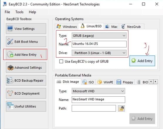 menambahkan linux entry pada windows bootloader menu