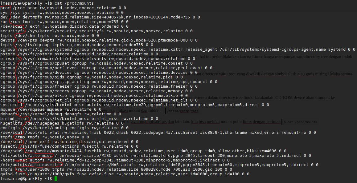 melihat lokasi mountpoint filesistem device dan drive pada linux