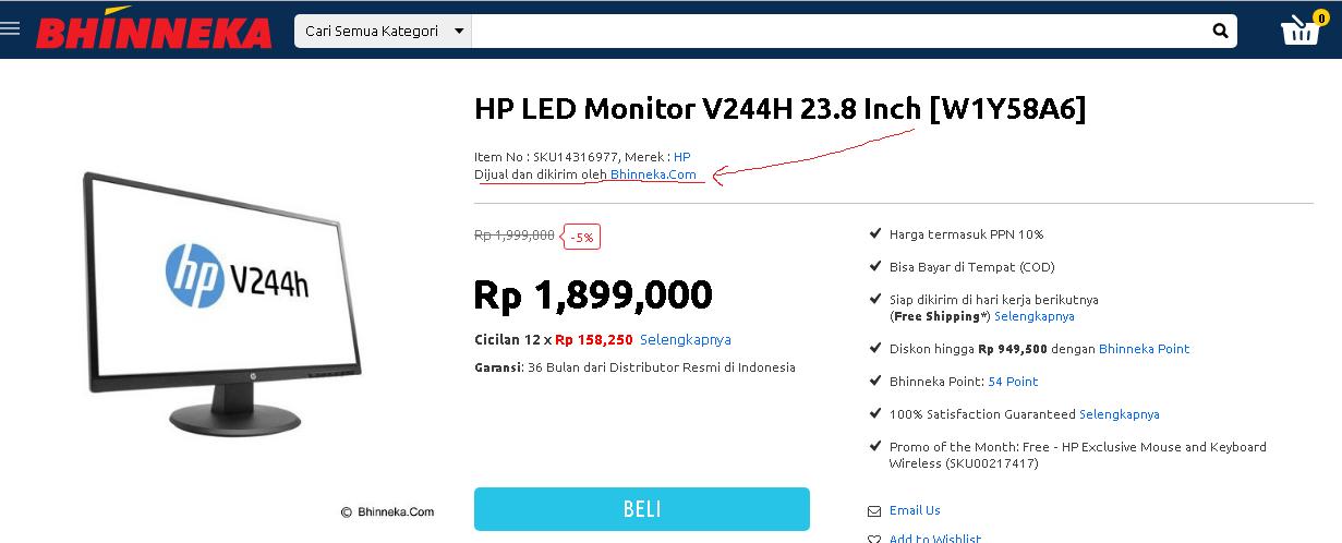 bhinneka e-commerce terpercaya dengan jenis B2C yang didalam nya terdapat toko rekanan