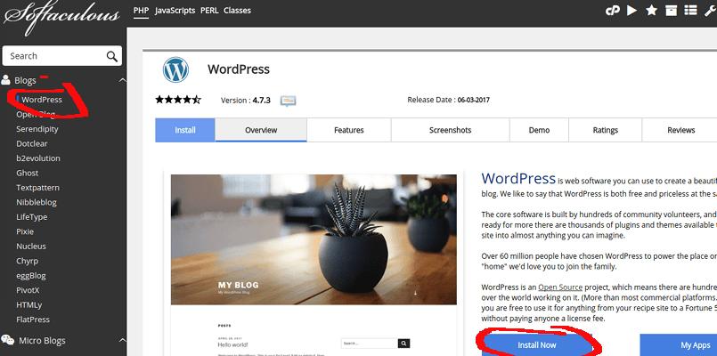 memulai proses install CMS WordPress
