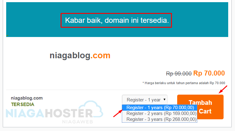 memilih durasi kontrak domain niaga hoster