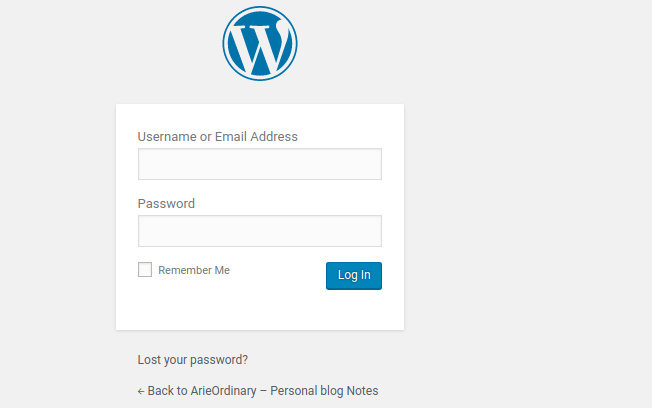 tampilan login menu CMS admin panel WordPress