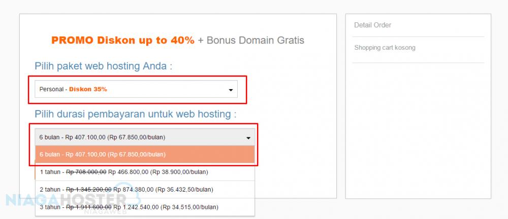 memilih waktu kontrak hosting yang akan diambil