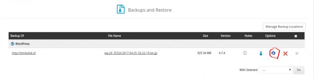pilih hasil backup yang ingin direstore menggunakan softaculous apps installer