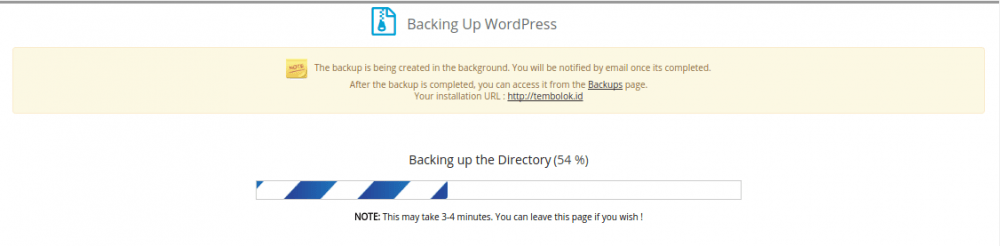 proses backup menggunakan softaculous apps install berjalan