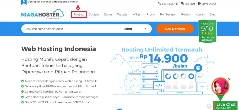 tampilan utama website niaga hoster