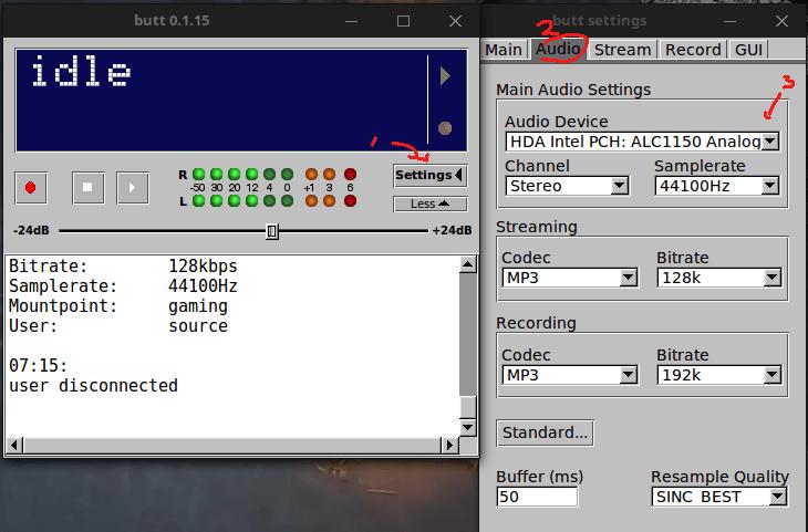 memilih audio device untuk stream source butt