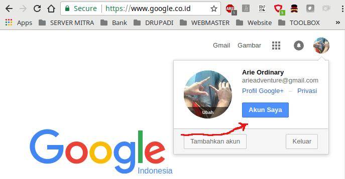 pilih akun saya my account untuk mengatur account google