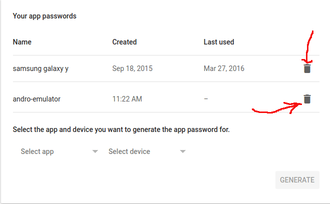 cara menghapus google app password