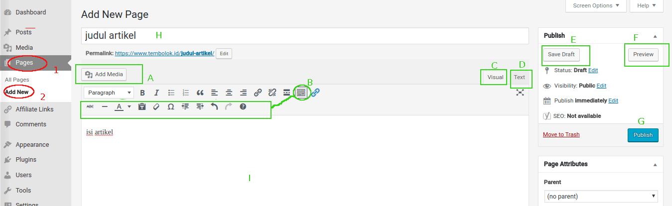 cara menulis membuat artikel/postingan dengan menu page